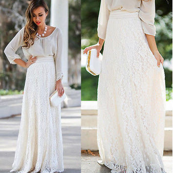 Boho long lace skirt