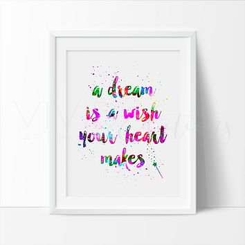 Cinderella, Walt Disney Quote Watercolor Art Print
