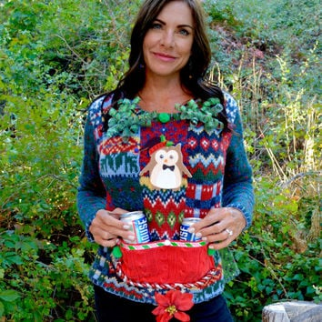 Beer holder Party Sweater, Ugly Christmas sweater, Small, new years eve, owl, beer, women, alcohol, party sweater, sexy, crotch flower