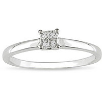 10k Gold 1/10ct TDW Princess Diamond Promise Ring (H-I, I2-I3) | Overstock.com