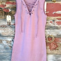 Fun in the Sun Tie Tank Dress: Dusty Rose