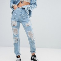 Glamorous Tall All Over Embellished Mom Jean at asos.com