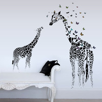 3D Giraffe Colorful Butterfly Wall Sticker Removable Home Decor Bedroom Art Applique