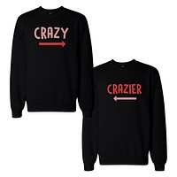 Funny Crazy and Crazier BFF Matching SweatShirts Front and Back Design