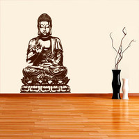 Wall Decal Vinyl Sticker Decals Art Decor Design Buddha Statue Indian Yoga Om Ganesh Prayer God Kharma Chakras Style Dorm Bedroom (r448)