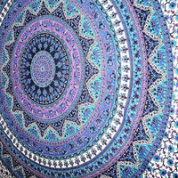 Shopnelo Hand crafted in India using traditional methods. Material: 100% Cotton Makes a great wall hanging, tablecloth, beach cover up, Dorm, couch cover or window curtain other Home Décor purposes Measures approximately 60 by 90 inch Intricate Design