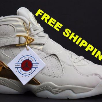 [ FREE SHIPPING ] AIR JORDAN 8 (CHAMPAGNE) BASKETBALL SNEAKER