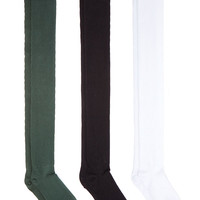Cotton Solid Thigh-High Socks (3-Pack) | American Apparel