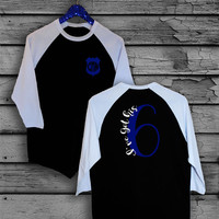 Police WifeI've Got His 6 Monogram Two Toned Baseball, V-Neck or Scoop Neck T-Shirt