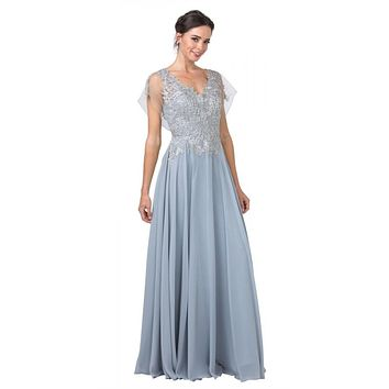 V-Neck and Back Silver Long Formal Dress with Appliques