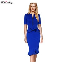 Oxiuly Womens Summer Elegant Flouncing Frill Front Zipper Peplum Wear To Work Office Business Casual Party Sheath Mermaid Dress