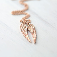 Rose Gold Angel Wings Necklace / 24K Rose Gold Vermeil Wings on 14K Rose Gold Filled Chain
