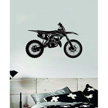 Dirtbike V2 Motorcycle Decal Sticker Bedroom Room Wall Vinyl Art Home Decor Teen Nursery Sports Moto X Ride Auto Dirt