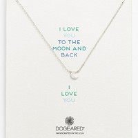 Women's Dogeared 'Reminder - Love You to the Moon' Boxed Moon Pendant Necklace - Silver