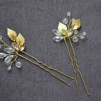 Set of 2 Crystal Hair pins bridal hair pins Gold Hair pins wedding hair pins leaf hair pins Bridal bobby pins Rhinestone hair pin Bridal pin