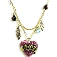"""Betsey Johnson """"Flights of Fancy"""" Love Heart and Feather 2-Row Necklace"""