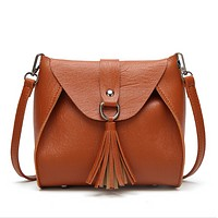 Fashion New Tassel Leather Shopping Leisure Shoulder Bag Handbag Crossbody Bag Women Brown