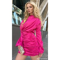 Thank You, Next Satin Faux Silk Long Sleeve Drape Cowl Neck Mock Neck Ruched Mini Dress