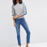 ASOS Jumper With Zip Sleeve Detail at asos.com