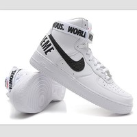 NIKE Women Men Running Sport Casual Shoes Sneakers Air force High tops 94 White black hook