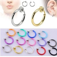 2 Piece Fake Nose Ring Goth Punk  Lip Ear Nose Clip On Fake Piercing Nose Lip Hoop Rings Earrings Golden Rose Gold body jewelry
