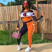 Champion Trending Women Stylish Stitching Long Sleeve Top Pants Set Two-Piece Sportswear