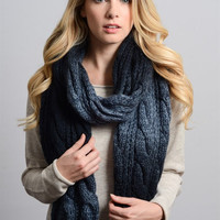 Ombre Cable Knit Scarf - Navy
