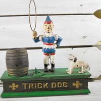 Cast Iron Penny Bank , Trick Dog Mechanical Collectible Money Bank