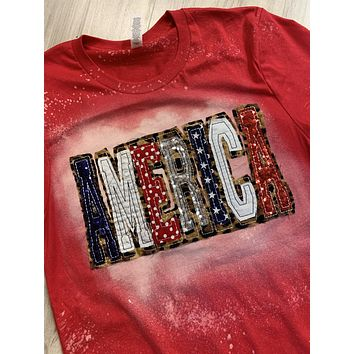 AMERICA Shirt - Double Stacked with Leopard and Red, White and Blue Fabrics