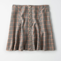 AE Plaid Button Down Midi Skirt