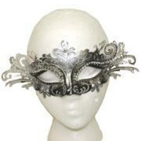 Venetian Masks: Black and Silver with Silver Laser Cut Metal