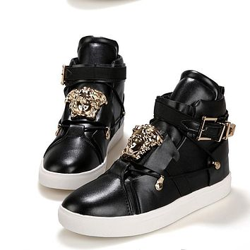 Versace Women Men High Help Sneakers Fashion Trending Running Sports Shoes Black