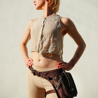 Unisex Leather Hip Bag