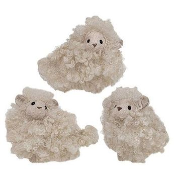 3/Set Mini Handcrafted Fuzzy Sheep
