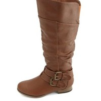Belted Zip-Up Knee-High Riding Boots by Charlotte Russe - Cognac
