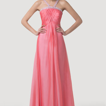 Pink Sequins Beads Fringed Ruched Evening Dress
