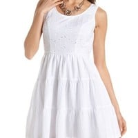 Tiered Eyelet Lace Skater Dress: Charlotte Russe