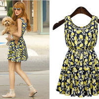 Sleeveless Lemon Print Flare Dress
