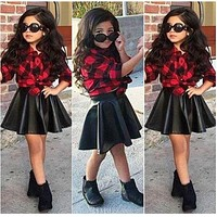 Spring Girls Kids Princess Plaid Tops Shirt Leather Skirt Summer Outfits Clothes