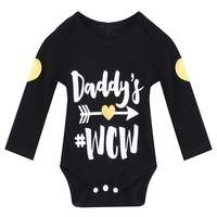 Autumn Spring Baby Bodysuit Long Sleeve Daddy Printed Letter Baby Boy Clothes Newborn Clothes Outfits Black