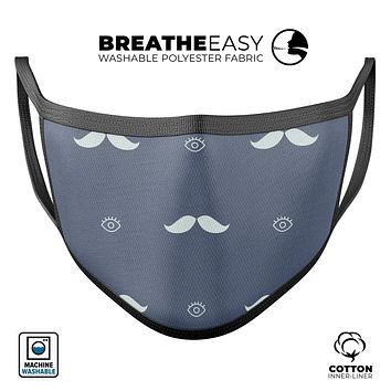 Cartoon Eyes Mustache Over Navy Pattern - Made in USA Mouth Cover Unisex Anti-Dust Cotton Blend Reusable & Washable Face Mask with Adjustable Sizing for Adult or Child