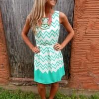 Mint Green Chevron Dress