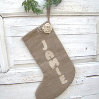 Personalized Christmas Stocking, Linen stocking, Christmas decorations, Christmas ornament, Linen Christmas, Rustic style