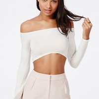 Missguided - Long Sleeve Bardot Crop Top White