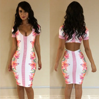 Short Sleeve Floral Print with Cut-Out Back Bodycon Dress