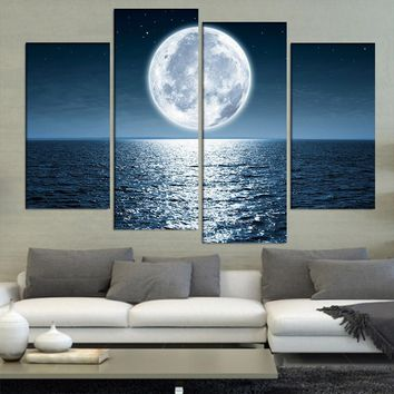 Abstract Canvas Painting 4 Panel Bright Moon Shining On The Ocean Wall Art Poster Wall Pictures For Living Room Home Decor