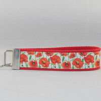 Keychain Wristlet Made With Poppy Inspired Ribbon