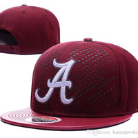 2017 Men's Alabama Crimson Tide NCAA Snapback Hats In Bordeaux Red Color USA College White A Logo Adjustable Caps With Leather Visor
