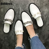 Leather Chains Slipper Women Pearl Rivet Metal Chain Flat Slipper Woman Loafers Casual Shoes Summer
