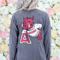 "Arkansas Vintage Hog Leaning on ""A"" Long Sleeve Tee {Pepper}"